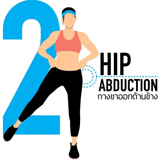 กางขาออกด้านข้างลำตัว (Hip Abduction)